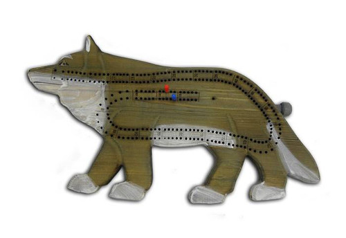 Hand-Carved Wolf Cribbage Board
