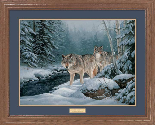 """Along the Creek"" Wolf Framed Wildlife Art Print"