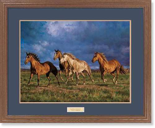 """Racing the Sun"" Horses Framed Wildlife Art Print"