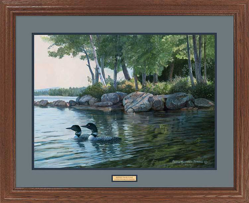 """Reflection Cove"" Loons Framed Wildlife Print"