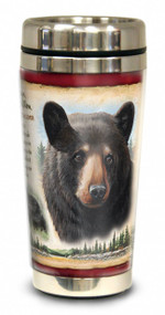 Front of Black Bear 16-oz steel travel mug