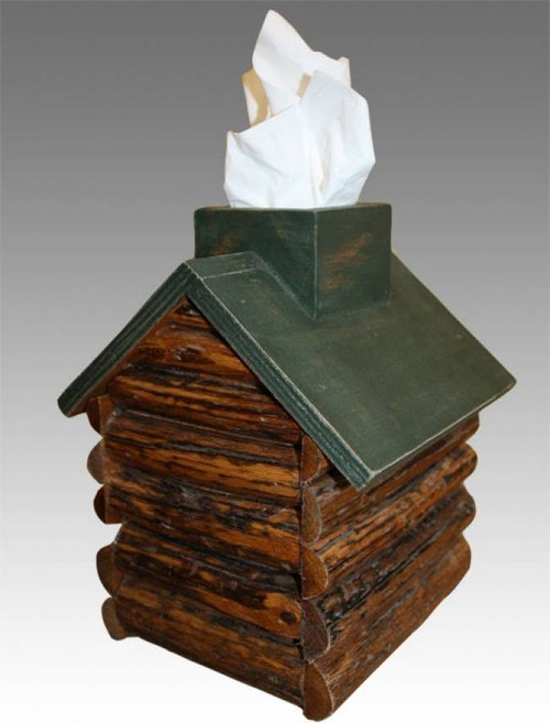 Cabin Tissue Box Green Roof