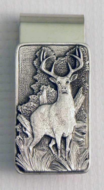 Whitetail Deer Pewter Money Clip Rectangular