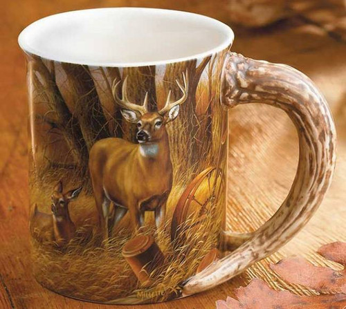 deer sculpted mug