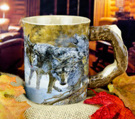 Gray Wolf Sculpted Coffee Mug