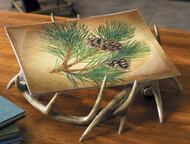 Pinecone Glass Platter with antler stand