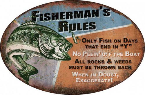 Fisherman S Rules Oval Tin Sign