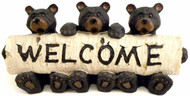Bears Sitting With Birch Log Welcome Sign Sculpture