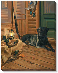 Bountiful Day- Black Lab Wrapped Canvas Close up