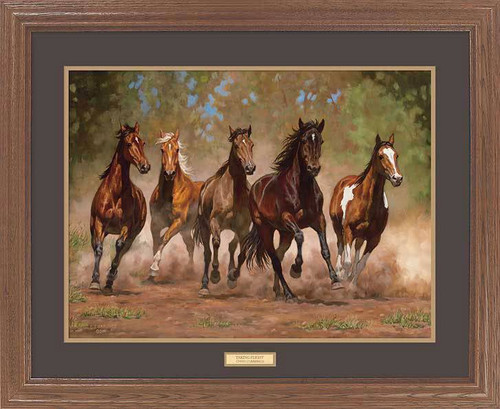 Quot Kickin Up Dust Quot Horse Framed Wildlife Art Print