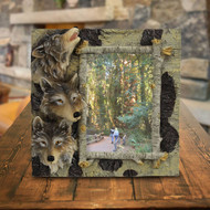 6x4 Wolves and Birch Photo Frame on table