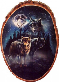 Wolf Twilight Protectors Rustic Wooden Plaque