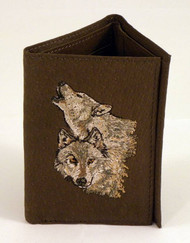 Trifold Wallet - Howling Wolves (Brown)