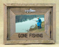 Gone Fishing 4X6 Barn Wood Photo Frame