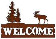 Rustic Moose with Trees Metal Welcome Sign