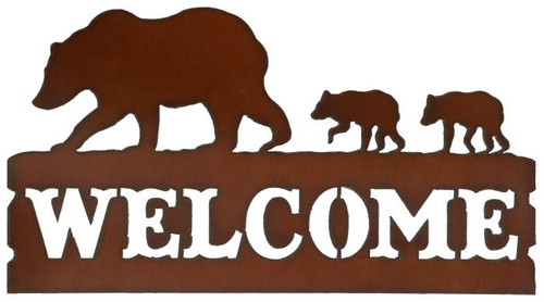 Rustic Bear And Cubs Metal Welcome Sign