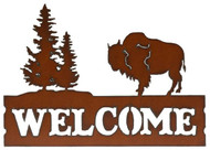 Rustic Buffalo with Trees Metal Welcome Sign