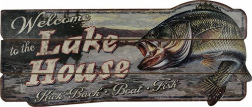 Bass Welcome To The Lake House Sign