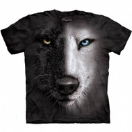 Black and White Wolf Face Short Sleeve T-Shirt