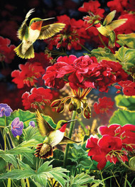 """Ruby Geraniums"" Hummingbirds 1000 Piece Puzzle"