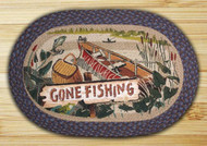 Gone Fishing Oval Braided Rug