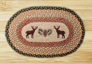 Deer and Pinecone Oval Braided Rug
