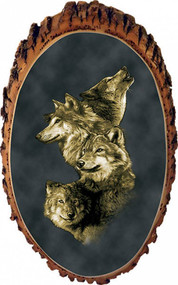 Four Wolves Rustic Wooden Plaque