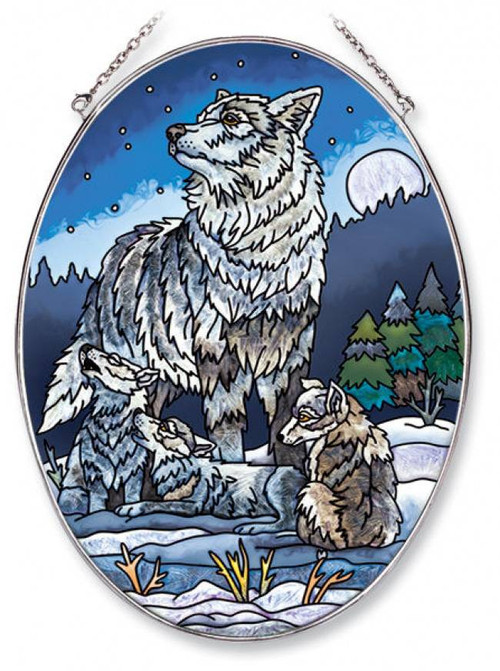 Howling Lessons Wolf Stained Glass Suncatcher