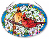 Orchard Cardinals Stained Glass Suncatcher