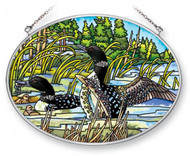 Common Loons Stained Glass Suncatcher