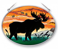 Moose Silhouette Stained Glass Suncatcher