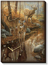 Backwater Passage - Whitetail Deer Wrapped Canvas Clock