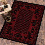 Bear Family and Pines 4' by 5' Red Rug