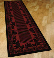 Bear Family and Pines Red 2' by 8' Rug