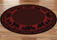 Bear Family and Pines Red 8' Round Rug