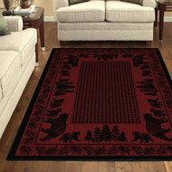 Bear Family and Pines Red 8' by 10' Rug