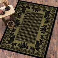 Bear Family and Pines Green 4' by 5' Rug