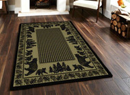 Bear Family and Pines Green 5' by 8' Rug