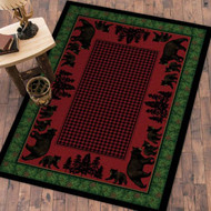 Bear Family and Pines 4' by 5' Rug