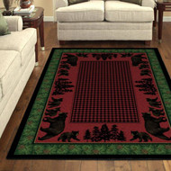 Bear Family and Pines 8' by 10' Rug