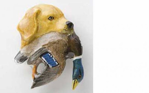 Yellow Lab With Mallard Duck Painted Metal Lapel Pin