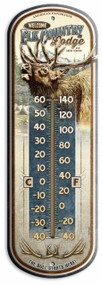 "Elk Country Lodge Vintage Ad Large 17"" Tin Thermometer"