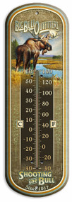 "Big Bull Outfitters Vintage Ad Large 17"" Tin Thermometer"