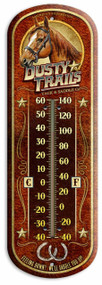 "Dusty Trails Vintage Ad Large 17"" Tin Thermometer"