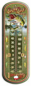 "Lucky Lure Vintage Ad Large 17"" Tin Thermometer"