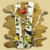 Bird Scene Hand-Carved Wooden Wallhanging