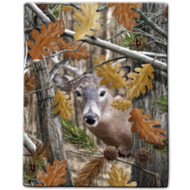 """Deer Camo"" Sherpa Lined Borrego Fleece Throw"