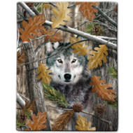 """Wolf Camo"" Sherpa Lined Borrego Fleece Throw"