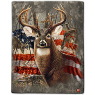 """Patriotic Deer"" Sherpa Lined Borrego Fleece Throw"