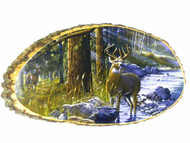 Deer at River 12x20 Wooden Plaque